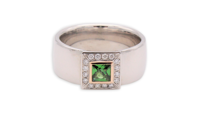 14Kt Weißgoldring mit Smaragd in Roségold gefasst und Brillanten umrahmt